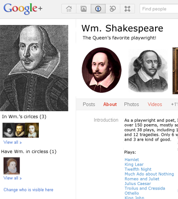William Shakespreare's Google Profile